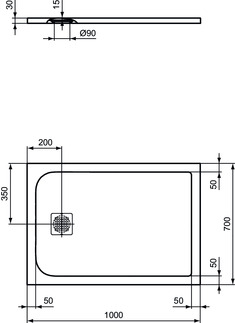 IS_UltraFlatS_K8218_PrListDrw_NN_shower-tray100x70